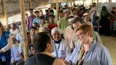 Marise Payne said the goal in Bangladesh was to return the refugees to Myanmar rather than offer them humanitarian places in Australia or elsewhere.