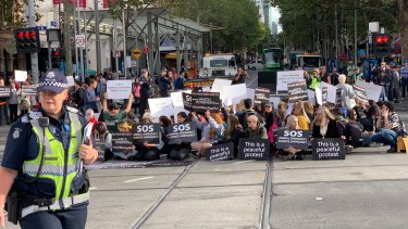 About 150 animal rights activists blocked the intersection of Flinders and Swanston streets in Melbourne, calling for an end to animal cruelty.