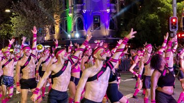Marching to the after party at this year's Gay and Lesbian Mardi Gras.