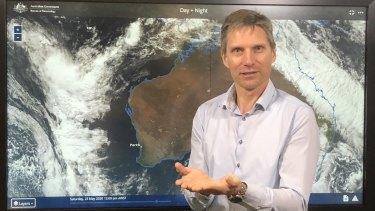 Bureau of Meteorology WA state manager James Ashley explaining rare Perth storm due to hit Sunday.