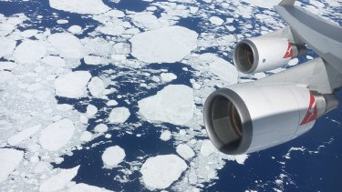A view from the window of a Qantas jumbo jet across Antarctica.