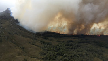 The Gell River bushfire in Tasmania's south-west, which has burned through about 18,000 hectares.