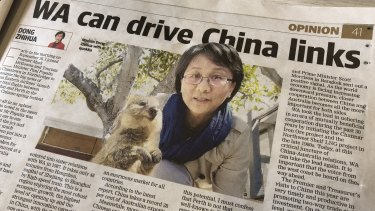 China's consul-general to WA Dong Zhihua published two opinion editorials in as many months in Perth's daily newspaper.