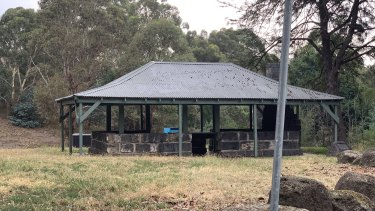 The undercover barbecue area where the 20-year-old was arrested in Greensborough.