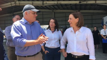 Prime Minister Scott Morrison joins LNP leader Deb Frecklington in Townsville.