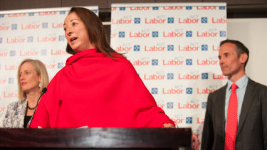 Labor MP for Canberra Gai Brodtmann on election night 2016, flanked by Labor senator Katy Gallagher and Labor MP for Fenner Andrew Leigh.
