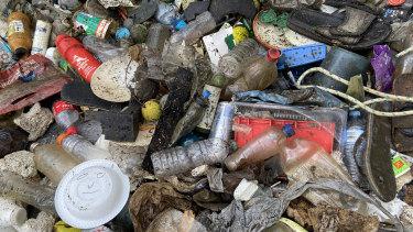 Plastic waste found in Enoggera Creek.