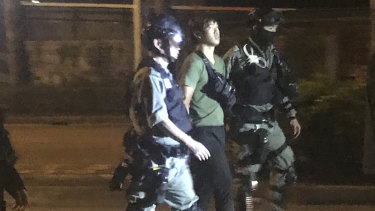 Protester arrested after trying to escape campus Tuesday evening.