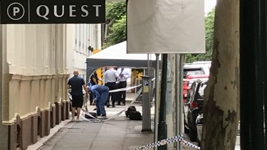 Police have set up several forensic tents and are speaking to staff from Quest and Westin.