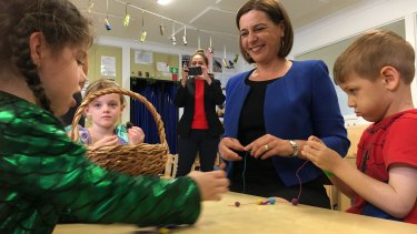 LNP leader Deb Frecklington announced a childcare policy on the Gold Coast.