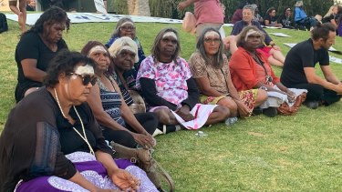 Attendees at the vigil for Kumanjayi Walker in Alice Springs.