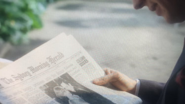 Prince Charles reading The Sydney Morning Herald in The Crown.