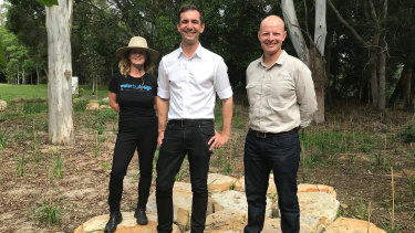 Federal Brisbane MP Trevor Evans (LNP) with Healthy Land and Water scientists Rachel Nasplezes and Dr Paul Maxwell at Newmarket.