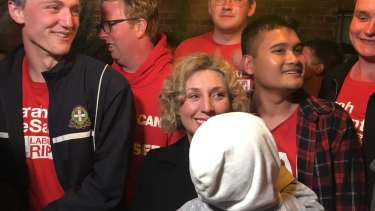 Labor's Sarah De Santis (centre) with her supporters in Clunes, in the ultra-marginal seat of Ripon.