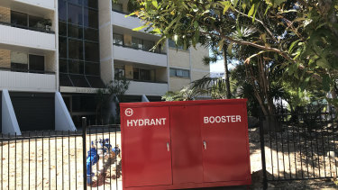 A new hydrant booster recently installed by a body corporate outside a Kangaroo Point apartment complex.