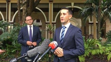 LNP leader David Crisafulli and his deputy David Janetzki in Brisbane.