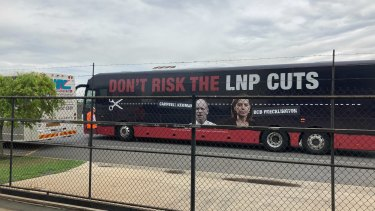 """Labor's """"Cuts Bus"""" crashed LNP events during the state election as part of a scare campaign."""