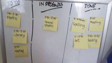 """Janelle Boyton's """"kanban"""" whiteboard."""