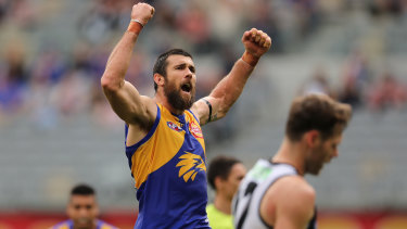 Forward march: Josh Kennedy starred for the Eagles in their big win over Collingwood at Optus Stadium in Perth.