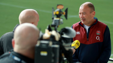 Eddie Jones faces the media in Paris.