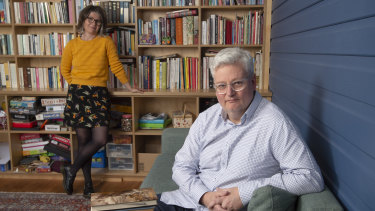 Russell Daylight, who runs a literacy course for first-year teaching students, with his wife, author Tegan Bennett Daylight.