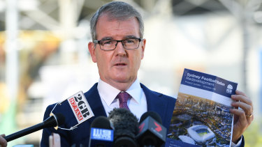Hold the bulldozers: NSW Labor leader Michael Daley speaks to the media outside Allianz Stadium.