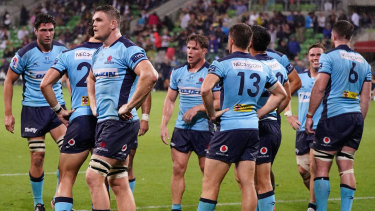 The Waratahs react to the final Rebels' try on a night that confirmed the worst for long-suffering fans.