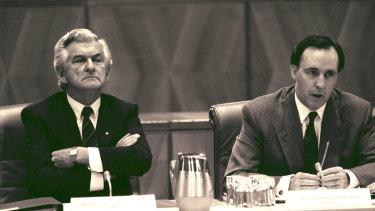 Bob Hawke and Paul Keating at Parliament House in 1991.