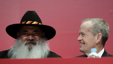 Senator Pat Dodson and Opposition Leader Bill Shorten during the launch of Labor's Reconciliation Action Plan at the ALP national conference.
