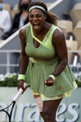 Serena Williams during her defeat at the French Open.