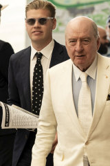 Jake Thrupp and Alan Jones arrive at the Inaugural Golden Eagle Day Horse Race at Rosehill in November.