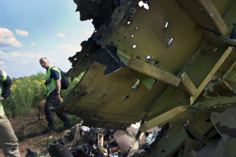 A file photo shows the wreckage of the MH17 near the village of Grabovo, Ukraine. 298 people lost their lives.