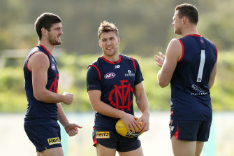 Melbourne players at training last year.