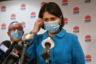 Premier Gladys Berejiklian announces further restrictions and new COVID-19 cases on Wednesday.