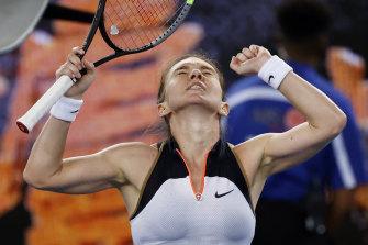 Simona Halep celebrates a hard-fought win over Ajla Tomljanovic.