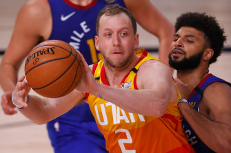 Joe Ingles in action for Utah in the NBA play-offs.