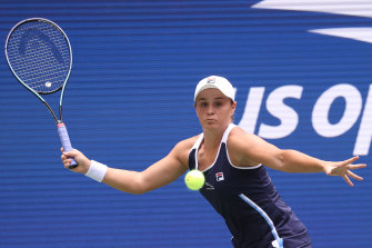 Ashleigh Barty returns the ball to Vera Zvonareva during their first round encounter at the US Open.