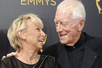 Max von Sydow and his wife Catherine Brelet, pictured in 2016.