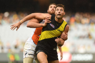 Giant battle: GWS ruckman Shane Mumford and Richmond counterpart Toby Nankervis.