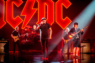 AC/DC during the filming of first single Shot in the Dark from new album Power Up.