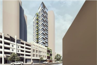 The development proposed by Di Marco Group has a car lift to drive resident cars straight up to their podium car park.