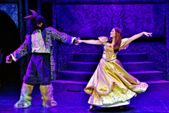 Lachlan McGinness (Beast), left, and Charlotte Gearside (Belle) in <i>Beauty and the Beast</i>.