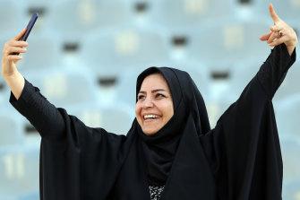 Enjoying the moment at the Iran match.