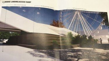 The proposal shows the Neville Bonner Bridge connecting over the top of the promenade along the front of South Bank.