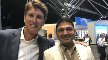 Microsoft Australia managing director Steven Worrall and Illuminance chief executive Nilesh Makwana.