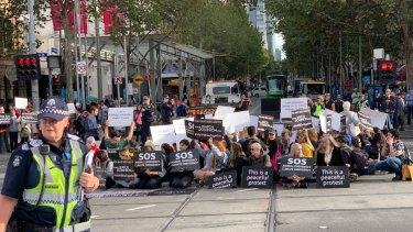 Animal rights activists blocked streets in Melbourne in April calling for an end to animal cruelty.