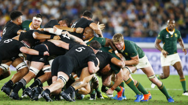 The clash between South Africa and New Zealand, won by the All Blacks, could well be a pointer to November's final.