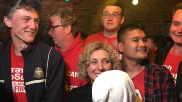 Labor's Sarah De Santis (centre) with her supporters in Clunes, in the ultra-marginal seat of Ripon, on election night.