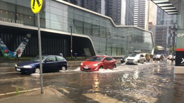 Flooding on Clarendon Street in South Melbourne.
