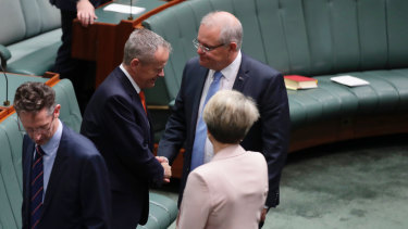 Scott Morrison went and shook the hand of Bill Shorten before formalities started on Tuesday.